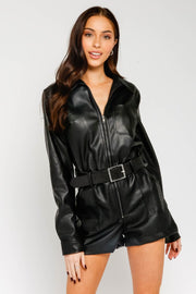 LEATHER UTILITY ROMPER