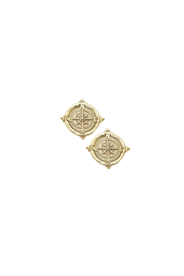COMPASS INTAGLIO STUD EARRINGS- GOLD