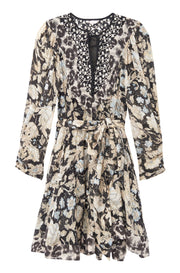 LONG SLEEVE PRINT MIX DRESS