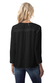 SPLIT NECK LS BLOUSE