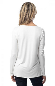 LONG SLEEVE V NECK COMBO TOP WITH TRIM