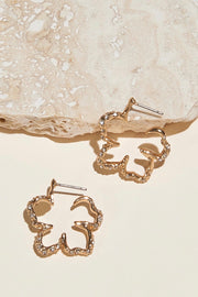 MINI SIMONE FLORAL HOOP EARRING- GOLD