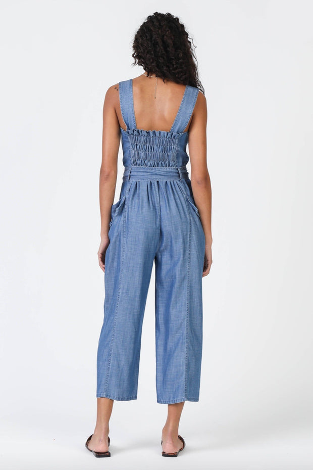 SQUARE NECK JUMPSUIT W/FRAYED EDGES