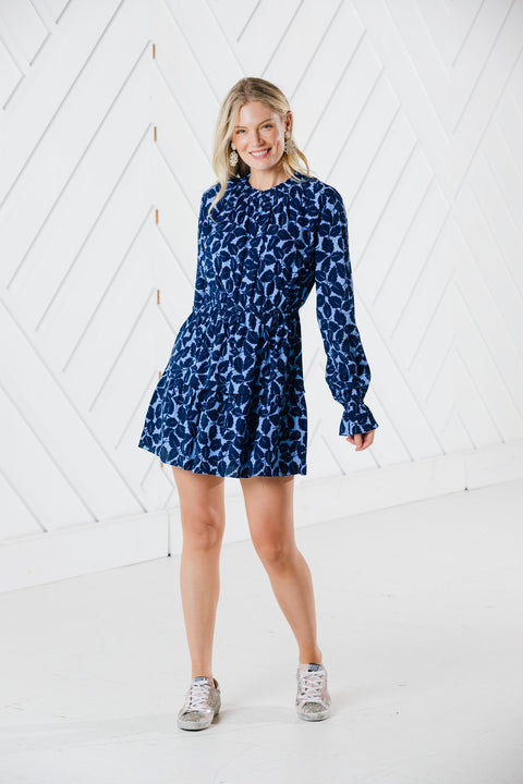 RUFFLE NECK PRINT DRESS