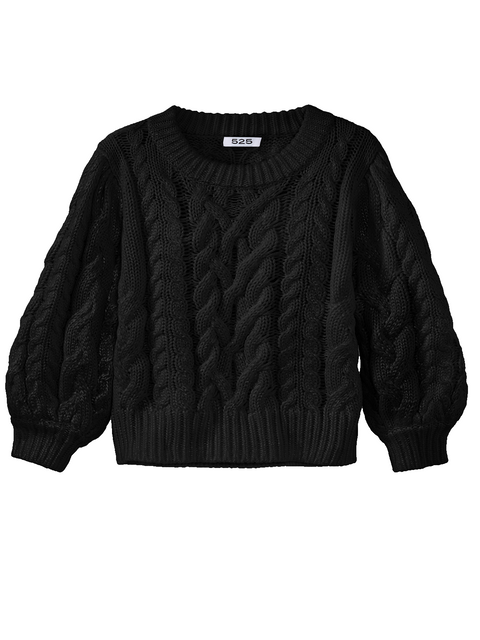 FOIL PRINT CABLE PULLOVER
