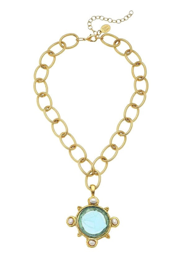 VENETIAN GLASS COIN CHAIN NECKLACE- AQUA
