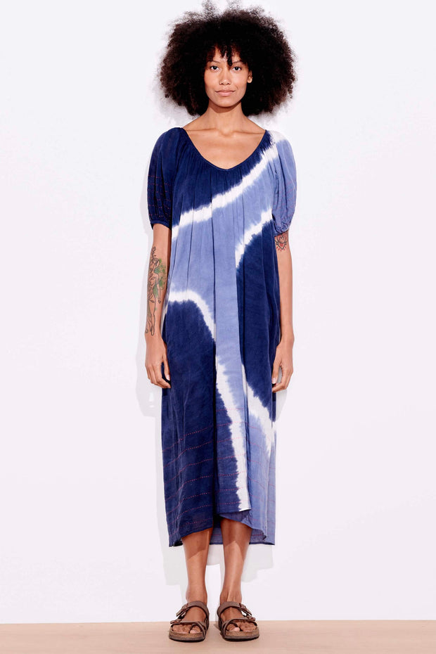BUBBLE SLV MAXI DRESS W/EMB