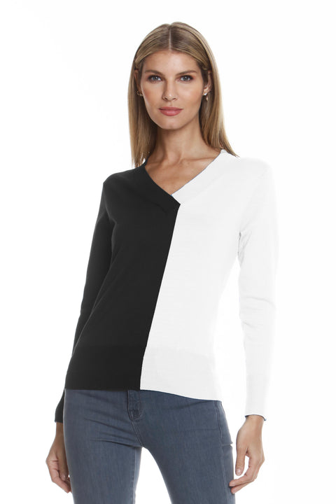 COLORBLOCK VNECK SWEATER