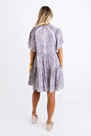 LEOPARD SMOCK SHOULDER TIER DRESS