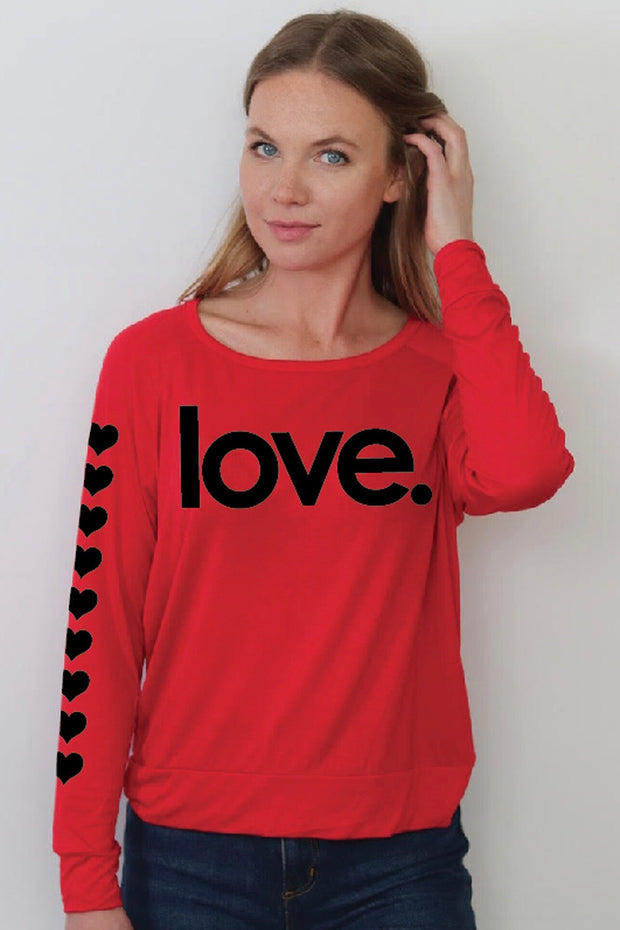 LOVE L/S TEE W/HEART SLEEVES