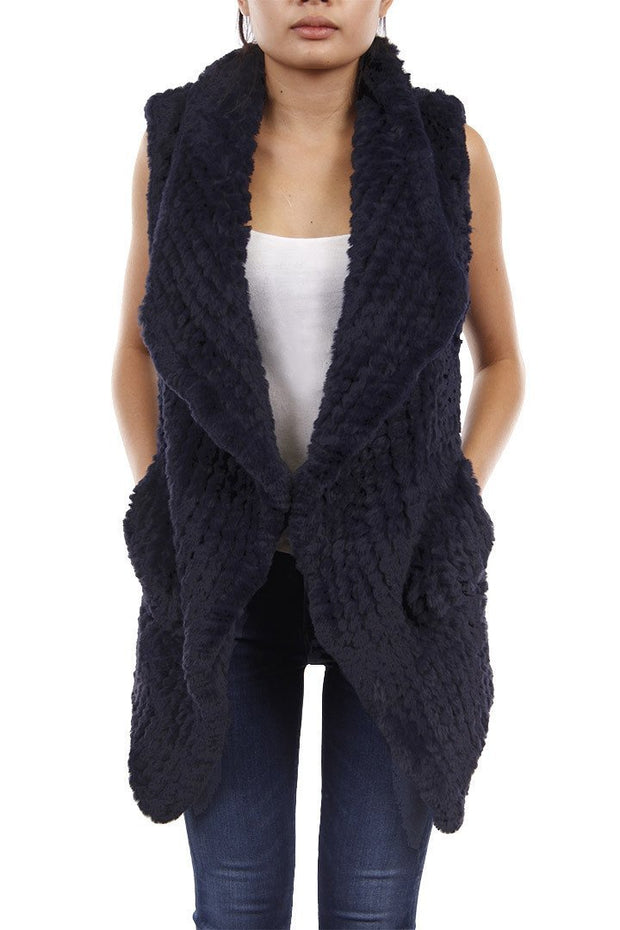 FAUX REX RABBIT VEST