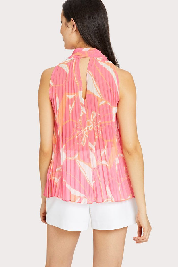 BROOKE PLEATED PENCIL FLORAL TOP