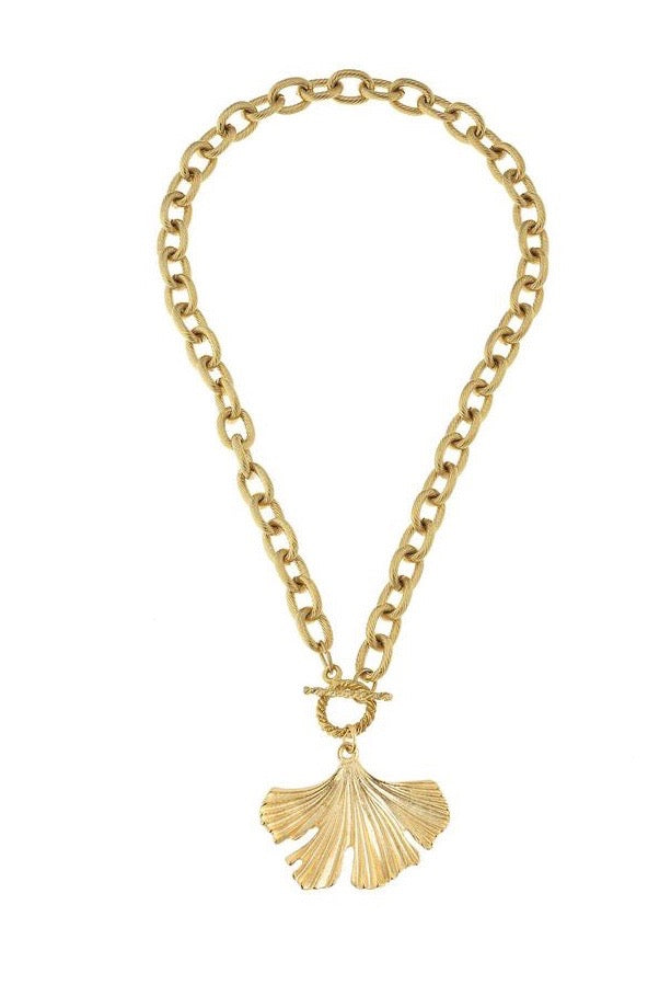 GINKO TOGGLE NECKLACE- GOLD