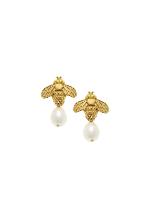 BEE & PEARL DROP EARRINGS- GOLD