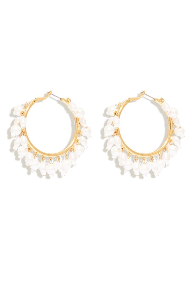 CELESTE HOOP EARRING- WHITE/GOLD