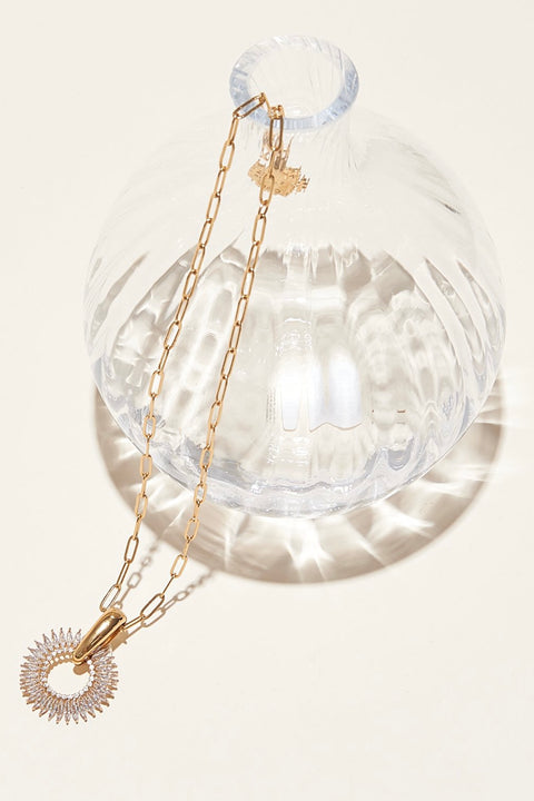 CRYSTAL MADELINE PENDANT NECKLACE- CLEAR