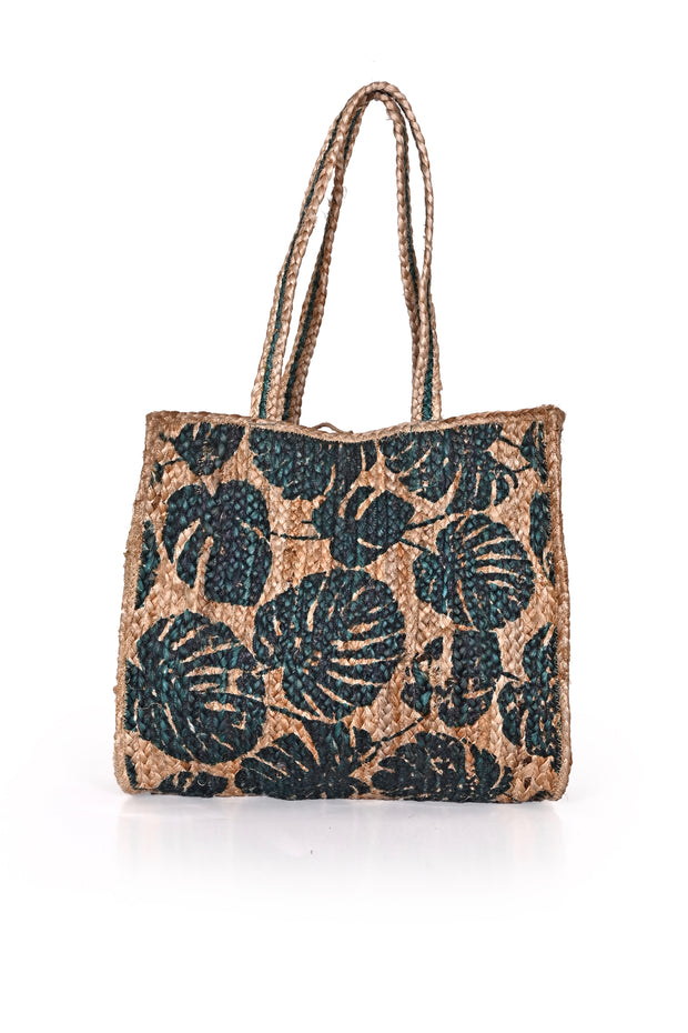 TROPICAL LEAF JUTE SHOULDER BAG