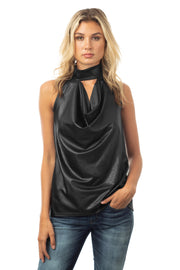 LEATHER JERSEY HALTER TOP
