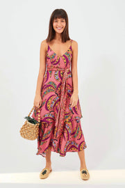 PINK BANANA FLOWERS MIDI DRESS