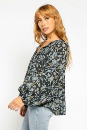 PAISLEY BLOUSE W/BUBBLE SLVS