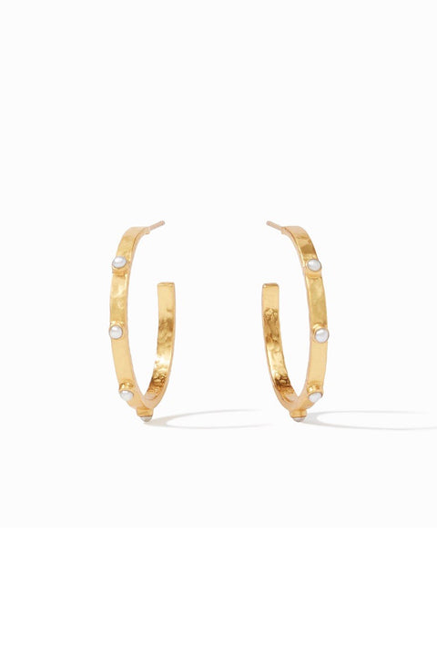 MEDIUM CRESCENT STONE HOOPS