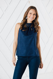 COWL NECK FAUX SUEDE TOP