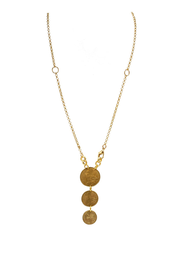 TRIPLE FRANC COIN NECKLACE