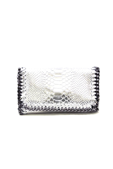 SNAKE CLUTCH/CROSSBODY W/CHAIN DETAIL (GF0434V)