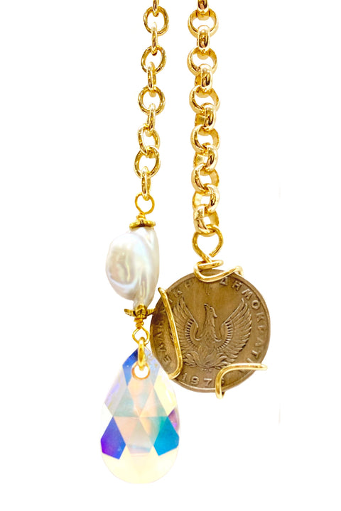 PEGASUS COIN & CRYSTAL BOA NECKLACE