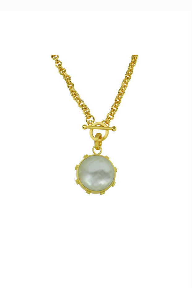 TOGGLE CHAIN NECKLACE W/ROUND STONE- PEARL