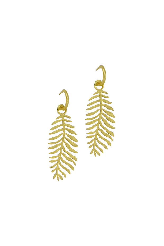TINY HOOP EARRING W/LEAF- GOLD