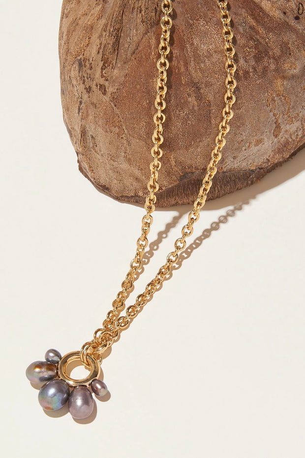 MARGOT PEARL NECKLACE- GRAY/GOLD