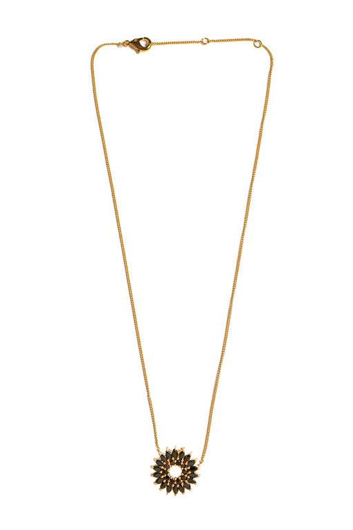 CRYSTAL MADELINE BURST NECKLACE- BLK/GLD