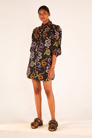 BLACK SNAKES MINI DRESS