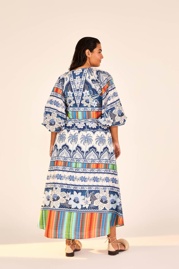 BLUE PALMS MIDI DRESS