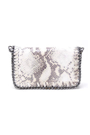 SNAKE PRINT CLUTCH/CROSSBODY W/CHAIN DETAIL (GF0434S)