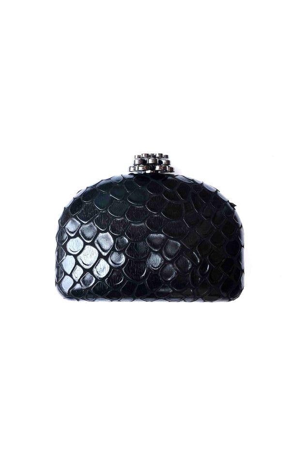 TIERED SNAKE NAPPA BOX CLUTCH W/CLASP (SRB-E3557)