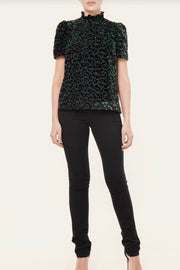 HALEY VELVET LEOPARD BURNOUT TOP