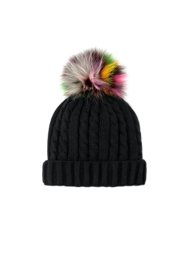 KNIT BEANIE W/RAINBOW FUR POM