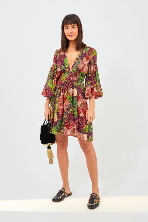 PURPLE FRUIT FLORAL MINI DRESS