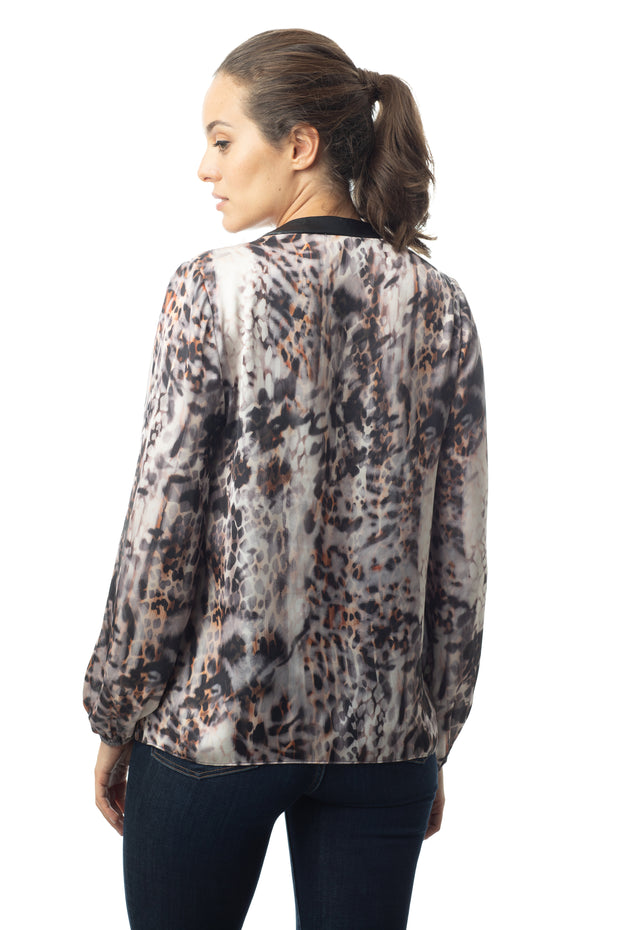LS ANIMAL PRINT SPLIT NECK TOP