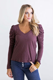 SOLID VNECK SLUB PUFF SLV TOP