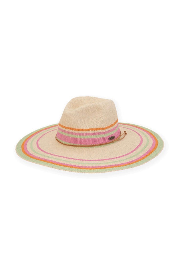 WIDE BRIM HAT W/MULTI COLOR STRIPES