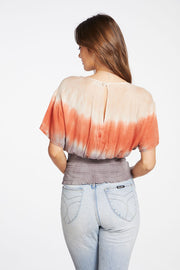 HEIRLOOM GAUZE SS SMOCKED WAIST TEE