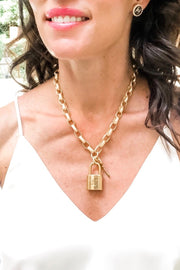 DESIGNER LOCK PAD NECKLACE- RECTANGLE CHAIN