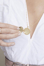 STELLAR LOCKET NECKLACE- GLD/CZ