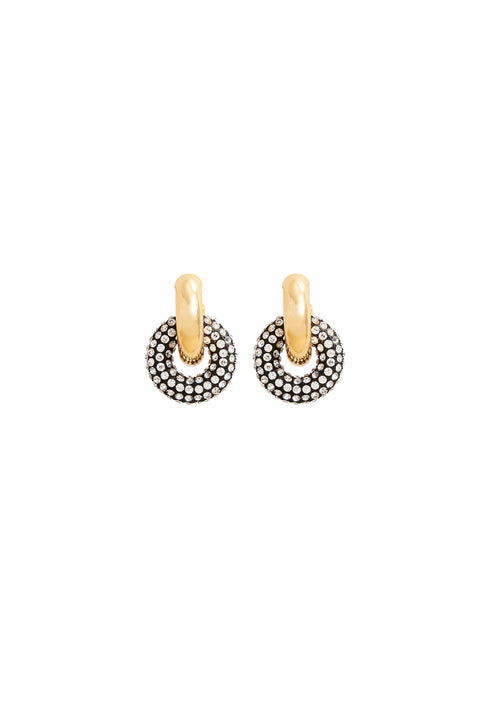 CATHERINE PAVE LINK HOOPS- GOLD