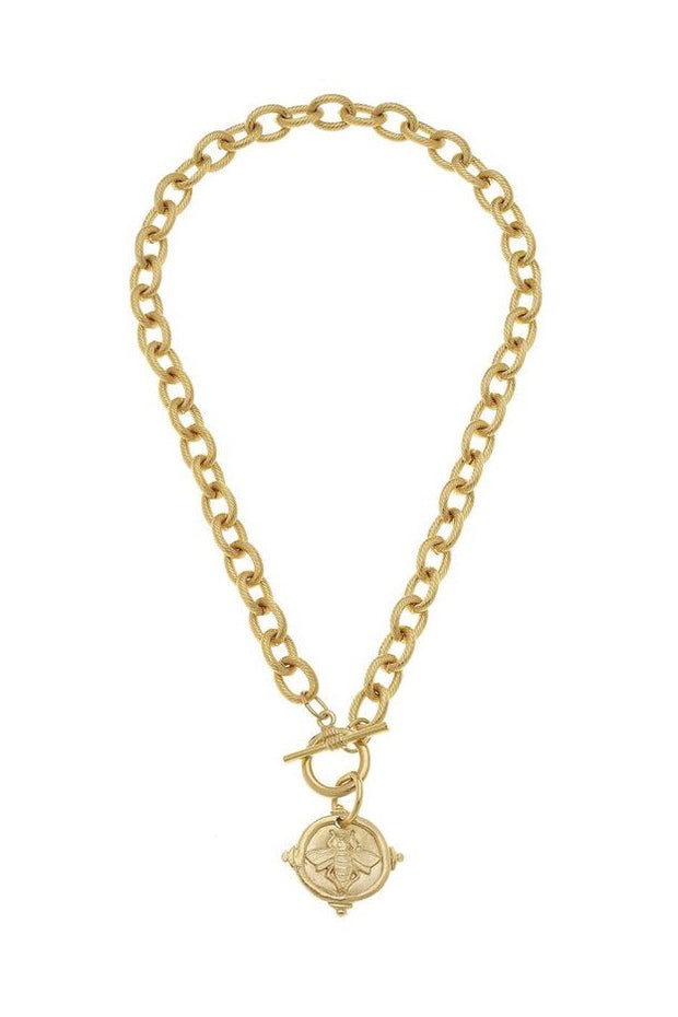 BEE INTAGLIO TOGGLE NECKLACE- GOLD