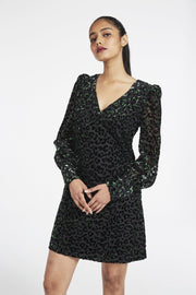 LYLAH VELVET LEOPARD DRESS