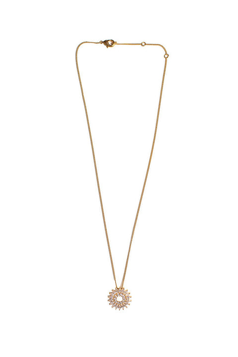 CRYSTAL MADELINE BURST NECKLACE- GOLD/CLEAR